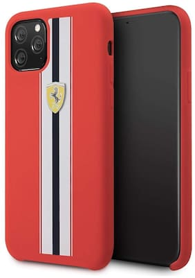 Apple iPhone 11 Pro Silicone Back Cover By Ferrari ( Red )