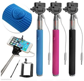 Fleejost Extendable Wired Selfie Stick Adjustable Holder for iPhone & Android Devices|Handheld & Portable for Perfect Shots