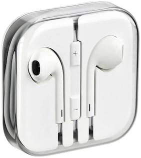Flozum Orignal High Quality  Wired Earphones For iphone 5,5s,6,6s,6plus,7,7plus,ipad & ipod Headset With Mic (White,in the Ear)