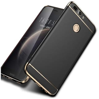 buy online c97e6 4677f Fokatkart Honor 9 Lite Back Case Cover Electroplated Luxury 3-in-1 Slim Fit  360* Protection Hybrid Hard Bumper (Black)