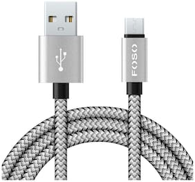 Foso(TM) Nylon Braided Micro USB Cable For Charging & Sync Data to Android SmartPhones (Silver Braided)