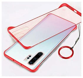 Frameless case for Samsung Galaxy Note 10 Plus Slim Translucent Matte Texture Design Hard PC Back Cover Shock Bumper Corners with Free Metal Ring - Red