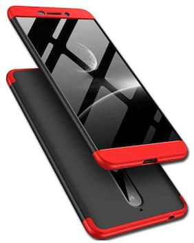 Full Body 3 in 1 Slim Fit Complete 3D 360 Degree Protection Hybrid Hard Bumper Back Case Cover for Nokia 6.1 (2018) (Black & Red)