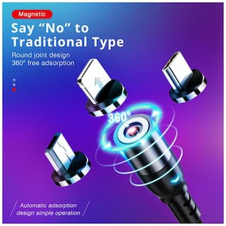 G GAPFILL 3IN1 MAGNET Charging Only 3 in 1 (Lightning & Micro USB & Type-C) Cable ( 1 m , Black )