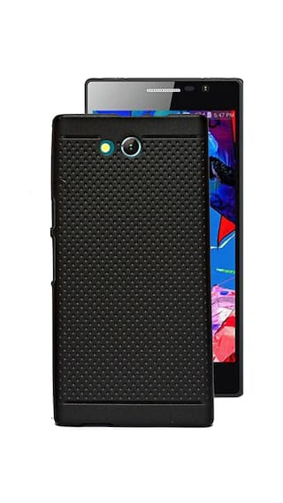 new concept 60441 1c2fa Dotted Matte Finish Soft Back Case & Cover For Reliance Jio LYF Wind 4 -  Black