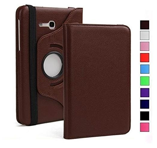 GALEX 360 Degree Rotating  Swivel Stand  PU Leather Folio Flip Cover For Samsung Galaxy Tab J Max / Tab A 7.0 inch T285 T280  Brown  | Back case For T