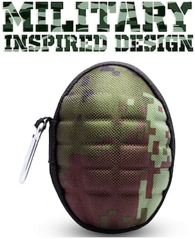 GoFree Shock Proof & Hard Ear Phone Case [with Inside Zipper Pocket & Large Space] Best for Earphone;Keys;Charger;Cable;Coins;Cosmetics;Sd Cards & Pen Drives (Camouflage Green)