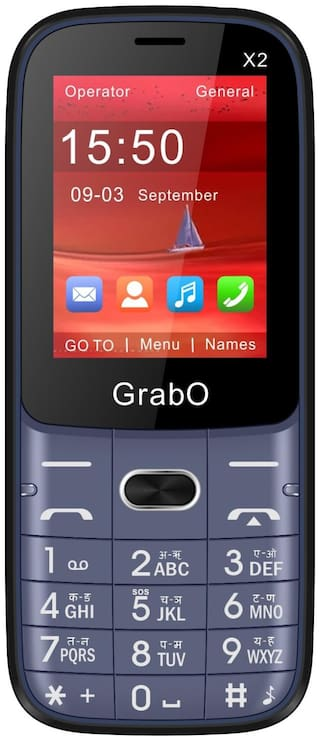 Grabo X2, 2.4 inch Display with vibration features phone  (BLUE)