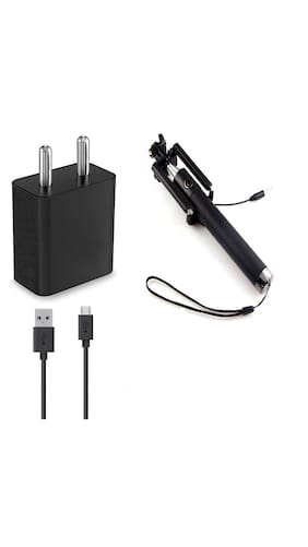 Grostar 2Amp Black Charger with 1.3 Miter Micro USB Data Cable for Redmi charger Mi charger Xiaomi charger And All Xiaomi Mi Models - With Free All Smart Phones 3.5mm Aux Selfie Stick