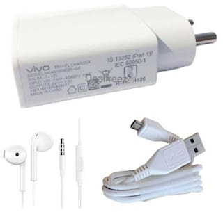Grostar Wall Charger With Data Cable & Earphone For Vivo