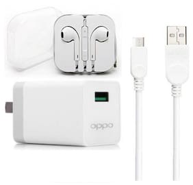 Grostar Wall Charger With Data Cable & Earphone For Oppo