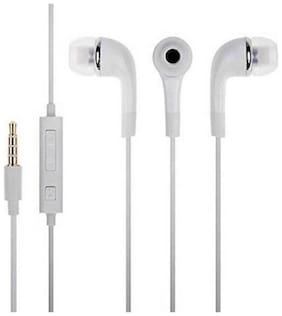 Handsfree compatible all Android Mobile 3.5mm jack Earphone All smartphones. Wired Headset with Mic  (White, On the Ear)