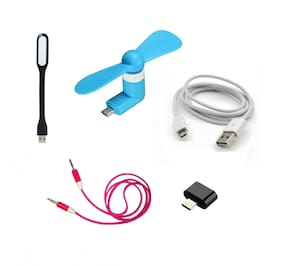 HashBean  Data Cable With OTG adapter,OTG Fan, AUX ,USB Light (Multi)