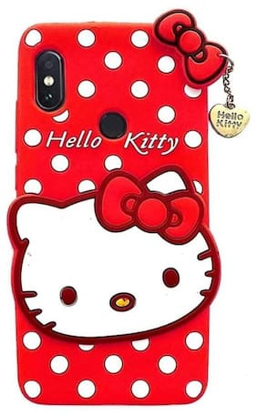Hello Kitty Back Cover for VIVO Y53  (Red, Grip Case, Rubber)