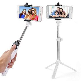 Hi-tech Rugged Selfie Stick (3n1) Bluetooth Selfie Stick + Tripod + Bluetooth Camera Remote Controller for Android and Apple Devices