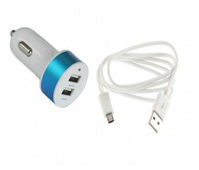 High Quality Duel USB Car Charger  with Data Cable for Samsung Galaxy Tab T-Mobile T849