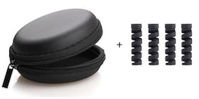 High Quality Water & Dust Resistant Shock Proof Earphone Carrying Case With 4Pc Cable Protector. (Black) By RRS & SONS