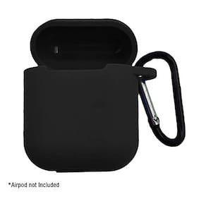HMFURRYS FINEST Silicone Shock Proof Protection Sleeve Skin Carrying Box with Hook for Airpods (Airpod not Include) (Black)