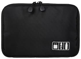 House of Quirk Universal Travel Organizer Pouch for Small Electronics and Accessories (Black)