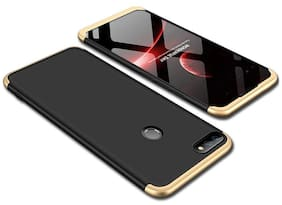 Huawei Honor 9N Back Case Cover: Original Full Body 3-In-1 Slim Fit Complete 3D 360 Degree Protection Hybrid Hard Bumper For Huawei Honor 9N  (Gold & Black)