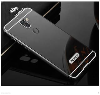 Metal Bumper Frame Mirror Back Cover for HUAWEI HONOR 6X - BLACK