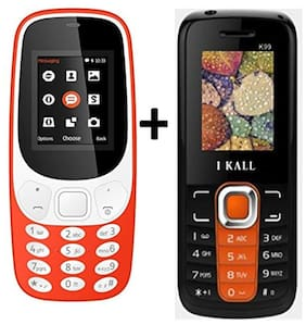 I KALL K3310 (Red)Combo with K99 (Orange) Mobile