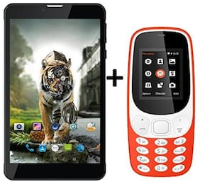 I KALL N5(Black) (2+16GB)4G Calling Volte Tablet Combo with K3310(Red) Mobile