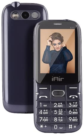 IAIR Basic Feature Dual Sim Mobile Phone with 2800mAh Battery, 2.4 inch Display Screen, 0.8 mp Camera in Glossy Colors and Textured Back (IAIRFPS11, Dark Blue)