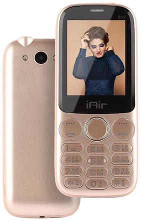 IAIR Basic Feature Dual Sim Mobile Phone with 2800mAh Battery, 2.4 inch Display Screen, 0.8 mp Camera in Glossy Colors and Textured Back (IAIRFPS12, Champagne)