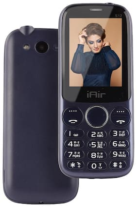 IAIR Basic Feature Dual Sim Mobile Phone with 2800mAh Battery, 2.4 inch Display Screen, 0.8 mp Camera in Glossy Colors and Textured Back (IAIRFPS12, Dark Blue)