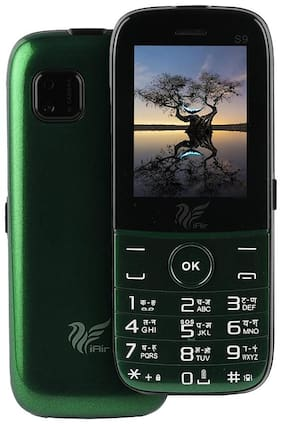 IAIR Basic Feature Dual Sim Mobile Phone with 2800mAh Battery, 2.4 inch Display Screen, 0.8 mp Camera with Front Designer LED Light (IAIRFPS9, Green)