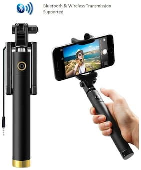 IMMUTABLE Pocket Sized Compact Adjustable Selfie Stick Monopod with AUX, Adjustable Ball Head & Silicon-Padded Mount