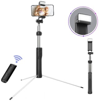 IN ONE Buletooth Selfie Stick with Tripod Stand Flash Light 1.6 Meter Length for Travel Photography and Making Videos (Black)