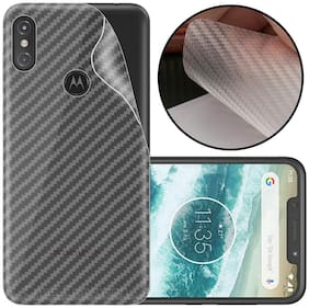 INCLU New Slim 3M Clear Transparent 3D Carbon Fiber Back Skin Rear Screen Guard Protector Sticker Protective Film Wrap Not Glass for Moto One Power