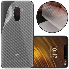INCLU Premium New Slim Fit 3M Clear Transparent 3D Carbon Fiber Back Skin Rear Screen Guard Protector Sticker Protective Film Wrap Not Glass for  Mi Xiaomi Poco F1 (Carbonn)