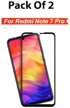 INCLU Premium High Quality Edge To Edge Full Coverage Tempered Glass With Full Glue Screen Protector For Xiaomi Redmi Note 7 Pro  (Pack Of 2 Pieces)