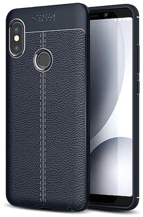 INCLU Back cover For Redmi note 5 pro Rubber & Artificial leather Blue