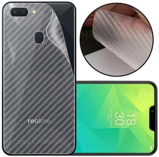 INCLU Premium New Slim Fit 3M Clear Transparent 3D Carbon Fiber Back Skin Rear Screen Guard Protector Sticker Protective Film Wrap Not Glass for oppo REALME 2