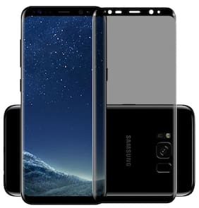 INCLU premium high quality  tempered glass edge to edge curved full covered,  hardness, tempered glass for samsung galaxy s8 - black