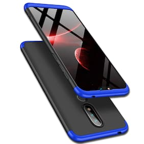 INCLU Premium Nokia 6.1 Plus Case, 360 Full body Coverage Protection Hard PC 3 in 1 Double Dip Protective Matte GKK Back 360 Case Cover for Nokia 6.1 Plus - Black and Blue