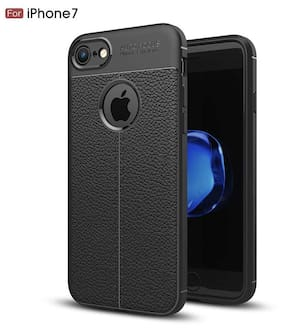 INCLU PREMIUM Apple iPhone -7 Cover Premium Leather Texture Series Rugged Armor ShockProof TPU Back Cover Case for iPhone 7 / Mobile Midnight BLACK