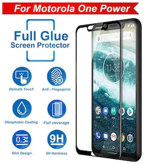 INCLU Present New Moto One Power Tempered Glass Screen Protector Full Glue Edge to Edge Fit 9H Hardness  Crystal Clarity 6D Curved Screen Guard for Moto One Power - Black