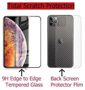 INCLU's Apple iPhone 11 Tempered Glass and Back Skin Combo for Front and Back Side for Apple iPhone 11