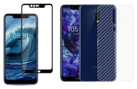 INCLU's Nokia 5.1 Plus Tempered Glass and Back Skin Combo for Front and Back Side for Nokia 5.1 Plus