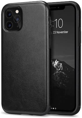 Apple iPhone 11 Max Pro Leather Back Cover By Accessories Kart ( Black )