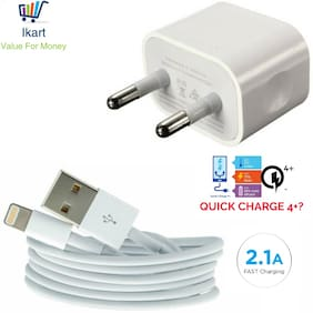 iPhone USB to 8 Pin Lightning Data Charging Sync Cable Wall Charger with USB Adapter for iPhone 5 5s 5c 6 6s 6+ 6s+ 7 7+ (White)