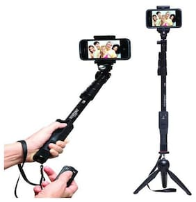 IPS_456I_1288 Selfie Stick|| Black selfie stick|| Selfie stick with bluetooth remote || Bluetooth selfie stick