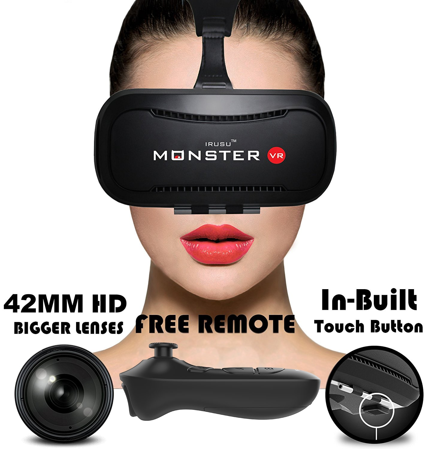 Irusu monster vr headset with free remote - virtual reality vr headset...