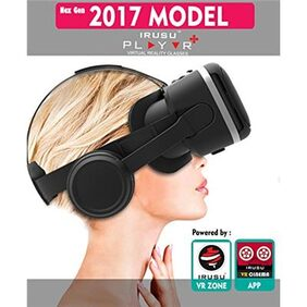 irusu play vr plus virtual reality vr headset for mobiles with HD lenses, built-in headphones, volume controllers and touch button