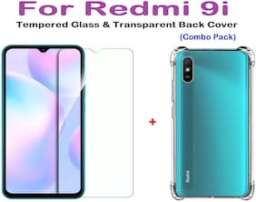 ISAAK Redmi 9i Transparent Back Cover & Tempered Glass (Combo Pack) Transparent